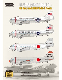 Wolfpack WD72006, C-47 Skytrain Part.1 - US Navy and JM (DECALS SET) ,SCALE 1/72