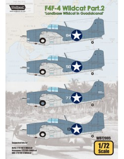 Wolfpack WD72005,F4F-4 Wildcat Part.2 'Landbase Wildcat (DECALS SET) ,SCALE 1/72