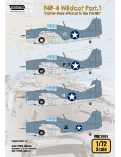 Wolfpack WD72004, F4F-4 Wildcat Part.1 'Carrier Base Wil(DECALS SET) ,SCALE 1/72