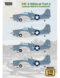 Wolfpack WD32005, F4F-4 Wildcat Part.2 'Landbase Wildcat (DECAL SET), SCALE 1/32