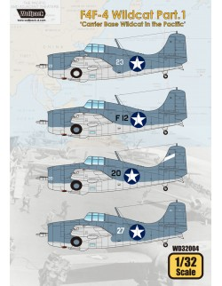 Wolfpack WD32004, F4F-4 Wildcat Part.1 'Carrier Base Wildcat (DECAL), SCALE 1/32