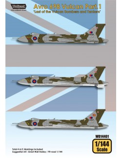 Wolfpack WD14401, Avro 698 Vulcan Part.1 (DECALS SET) ,SCALE 1/144