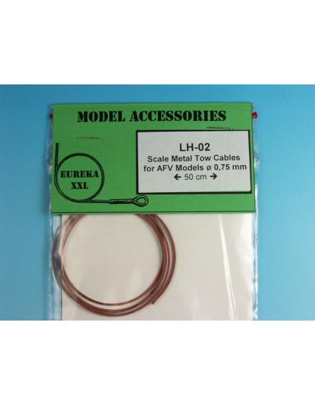 LH-02, 0.75mm Metal wire rope for AFV Kits, Eureka XXL, scale 1/35, 1/48, 1/72
