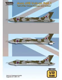 Wolfpack WD72001, Avro 698 Vulcan Part.1 (DECALS SET) ,SCALE 1/72