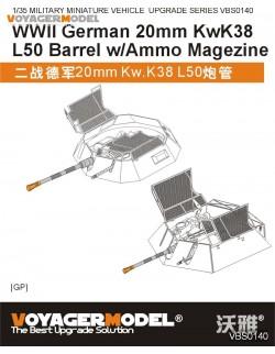 20mm KwK38 L50 Barrel w/Ammo Magazine (For all) , VBS0140, VOYAGERMODEL 1/35