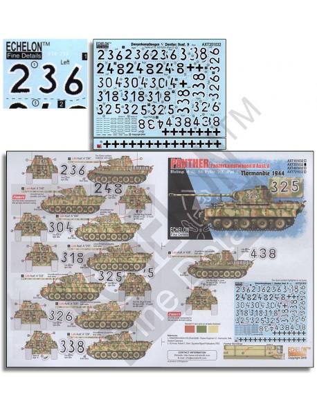 ECHELON FD AXT351032,1/35 Decals for 12. SS-Pz.Div. Panthers (Pt.2) Normandie 44