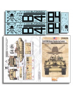 ECHELON FD D166250, SCALE 1/16, DECAL FOR 3rd ACR M1A2 Abrams (OIF)