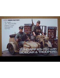 SOL RESIN FACTORY, MM183, 1:16 , ZUNDAPP KS-750 with Sidecar&Troopers , FULL KIT