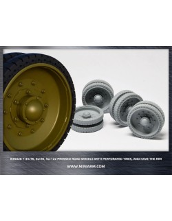 MINIARM 1:35, B35028, T-34 / 76, SU-85, SU-122 Pressed Road Wheels w/perforated
