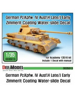 DEF. MODEL ,DD35013, Pz.IV Ausf.H late/ J early Zimmerit Decal set ,1:35