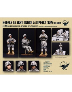VALKYRIE MINIATURES, VM35005, Modern US Army Driver and Support Crew for MRAP (3 Figures) in scale 1:35