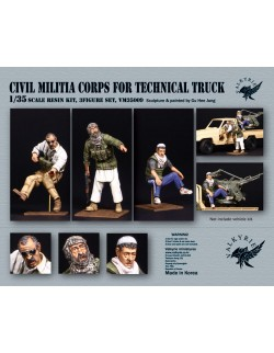 VALKYRIE MINIATURES, VM35009, Civil Militia Corps for Technical Truck (3 Figures) in scale 1:35