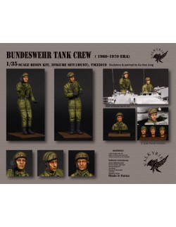 VALKYRIE MINIATURES, VM35018 Bundeswehr Tank Crew - 1960~ 1970 Era (2 Figures and 1 Bust) in scale 1:35