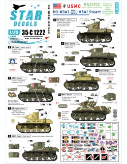 Star Decal 35-C1222 M3, M3A1, M3A1 Satan and M5A1 Stuart. US Marine Corps., 1/35