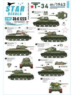 Star Decal 35-C1223 Red Army T-34 m/1943. Eastern front 1943-44. Mixed turret types, 1/35