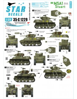 Star Decal 35-C1229 US M5A1 Stuart. 75th-D-Day-Special.Normandy and France, 1/35