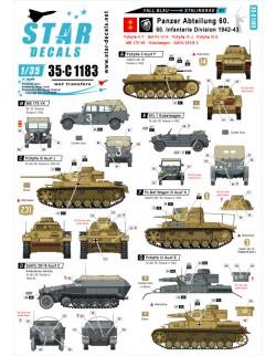 Star Decal 35-C1183 Fall Blau and Stalingrad SET NO 1. Pz-Abteilung 60 /60, SCALE 1/35