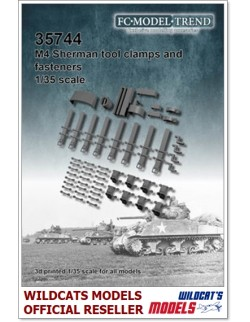 FC MODEL TREND 35744, M4 Sherman, tool clamps, 3d printed - for ALL, 1/35
