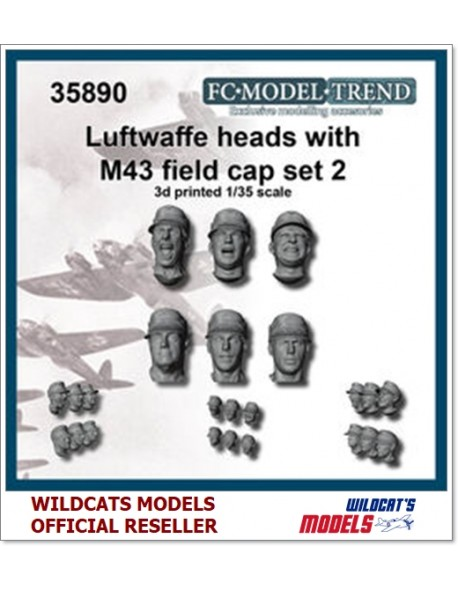 FC MODEL TREND 35890, Luftwaffe heads with M-43 cap, set 2, 3d printed, 1/35