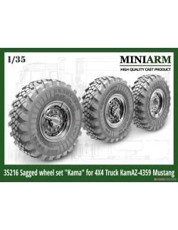 "MINIARM, 1/35 , B35216 ,Sagged wheel set ""Kama"" for 4X4 Truck Kamaz -4350 (4pcs)"