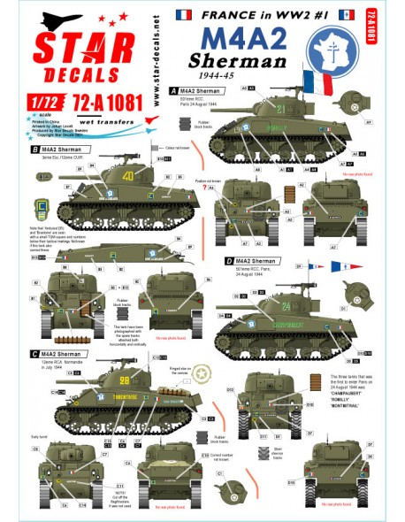 Star Decals, 72-A1081, French M4A2 Sherman , From Normandy to Paris, 1/72