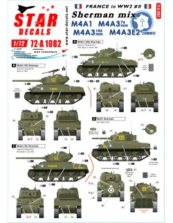 Star Decals, 72-A1082, French Sherman Mix. M4A1, M4A3 105mm, M4A3 76mm , 1/72
