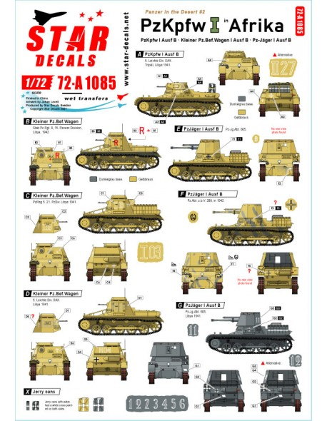 Star Decals 72-A1085, Panzer in the Desert NO 2. PzKpfw I Ausf B, Kleiner P ,1/72