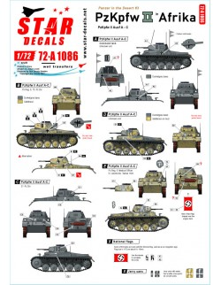 Star Decals 72-A1086, Panzer in the Desert NO 3. PzKpfw II Ausf A-C, in Nort,1/72