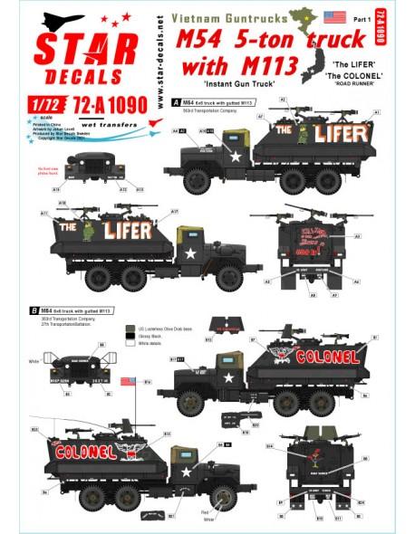 Star Decals, 72-A1090, Vietnam Guntrucks. M54 5-ton truck with M113 APC, 1/72