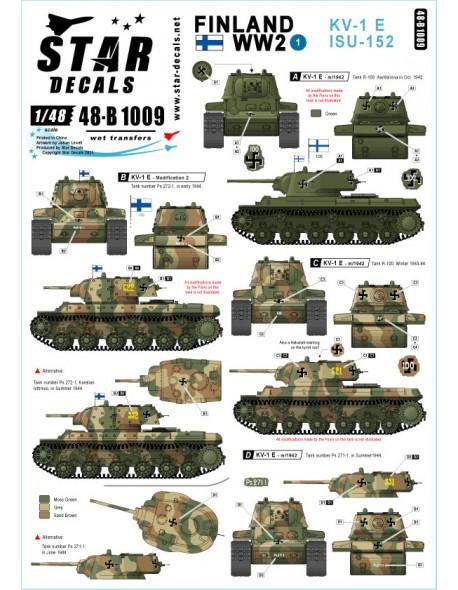 Star Decal 48-B1009, Finland WW2 NO 1. KV-1E and ISU-152 heavy tanks, SCALE 1/48