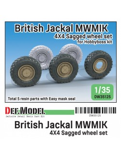 DEF. MODEL DW35125, British Jackal MWMIK 4x4 Sagged wheel set (for Hobbyboss 1/35), 1:35