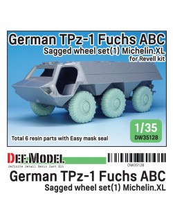 DEF. MODEL DW35126, German Man 5t. Mil gl Truck Sagged Wheel set(2) Continental HCS tires (for Hobbyboss /REVELL1/35), 1:35